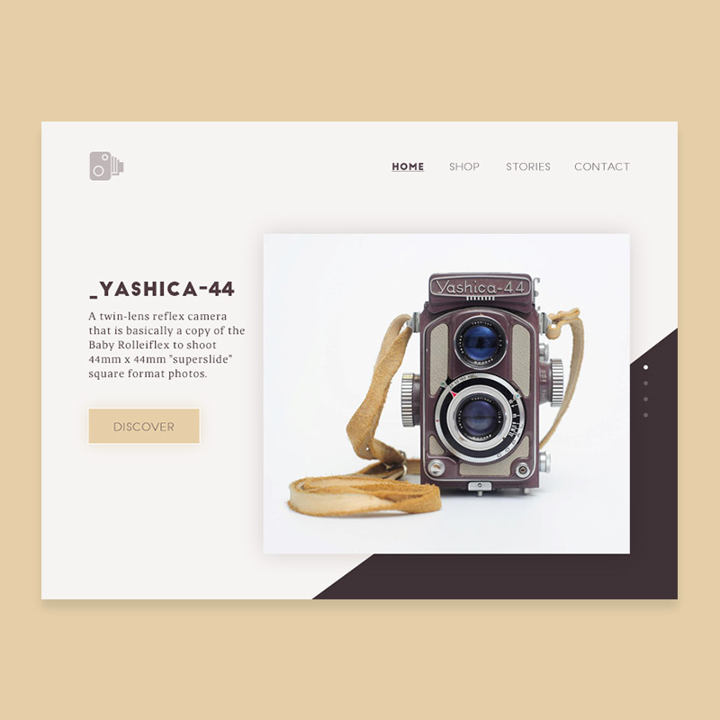 UI creations, ecommerce landing page